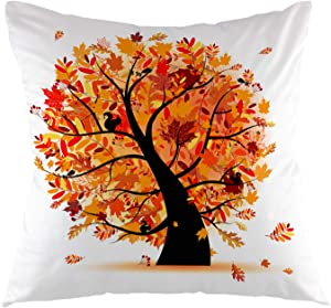 oFloral Autumn Tree Decorative Throw Pillow Cover Fall Maple Pillow Case Square Cushion Cover for Sofa Couch Home Car Bedroom Living Room Decor 18