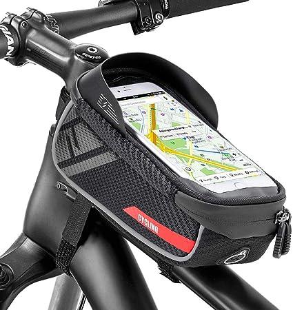 Jooheli Bolsa para cuadro de bicicleta, Bolsa para cuadro impermeable Bolsa para cuadro de bicicleta con pantalla táctil de TPU, Soporte impermeable ...