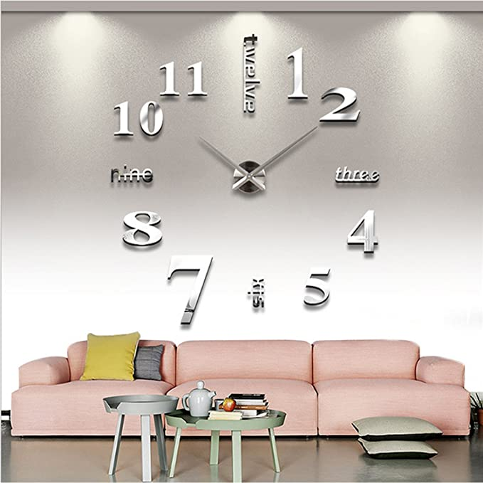 Amazon.com: Luxury Mirror Surface Creative Modern 3D Frameless Large Wall Clock Style Watches Hours DIY Room Home Decorations Model MAX3 (Silver): Home & ...