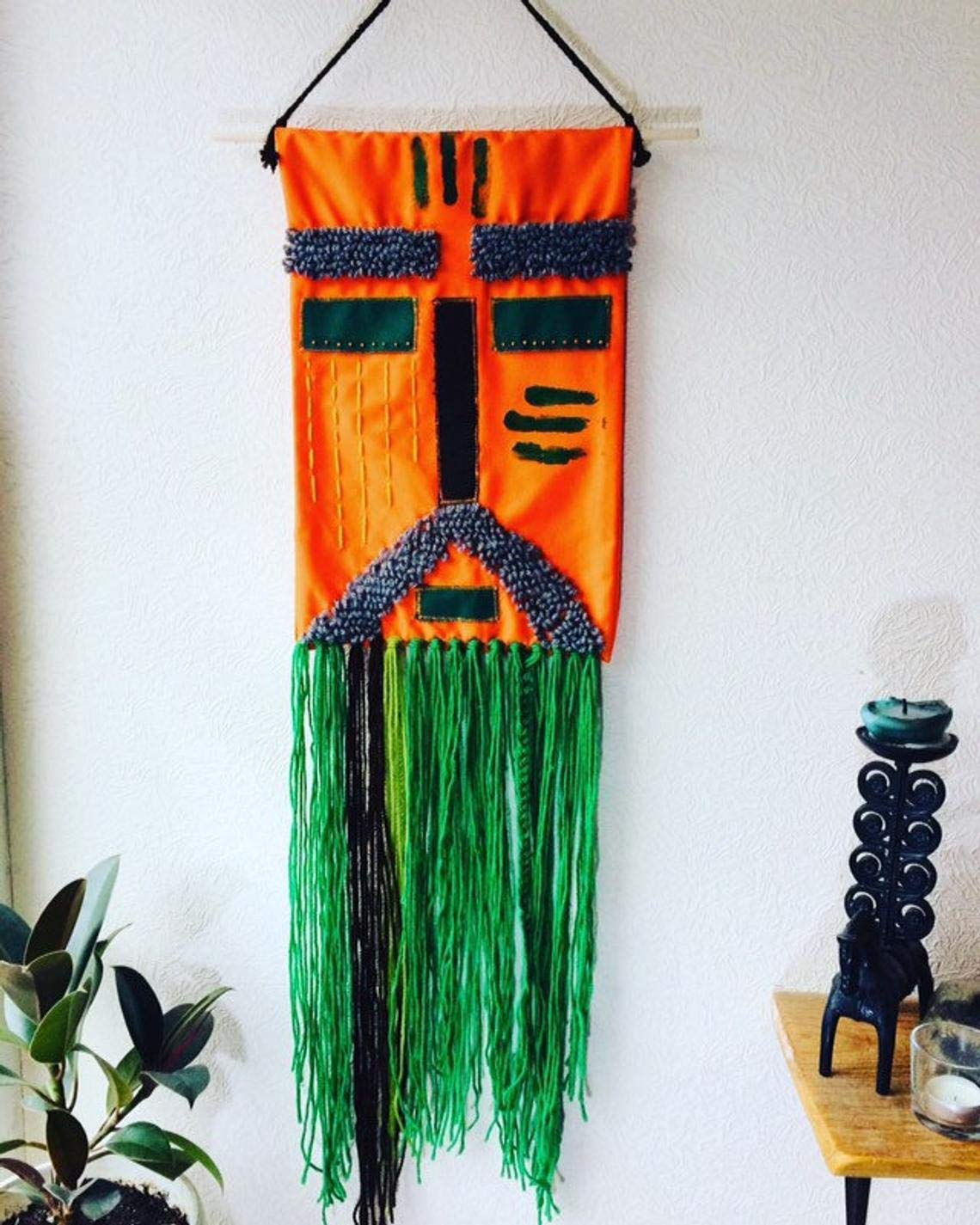 Boho Wall Decor for Living Room Colorful Narrow Long Vertical Wall Hanging Tapestry Applique Mask Druid 10x40 inch