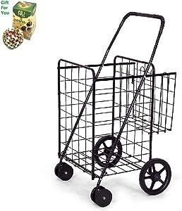Jumbo Basket for Grocery Laundry Travel w/Swivel Wheels by SpiritOne + Gift Coconut Shell Massage Ball