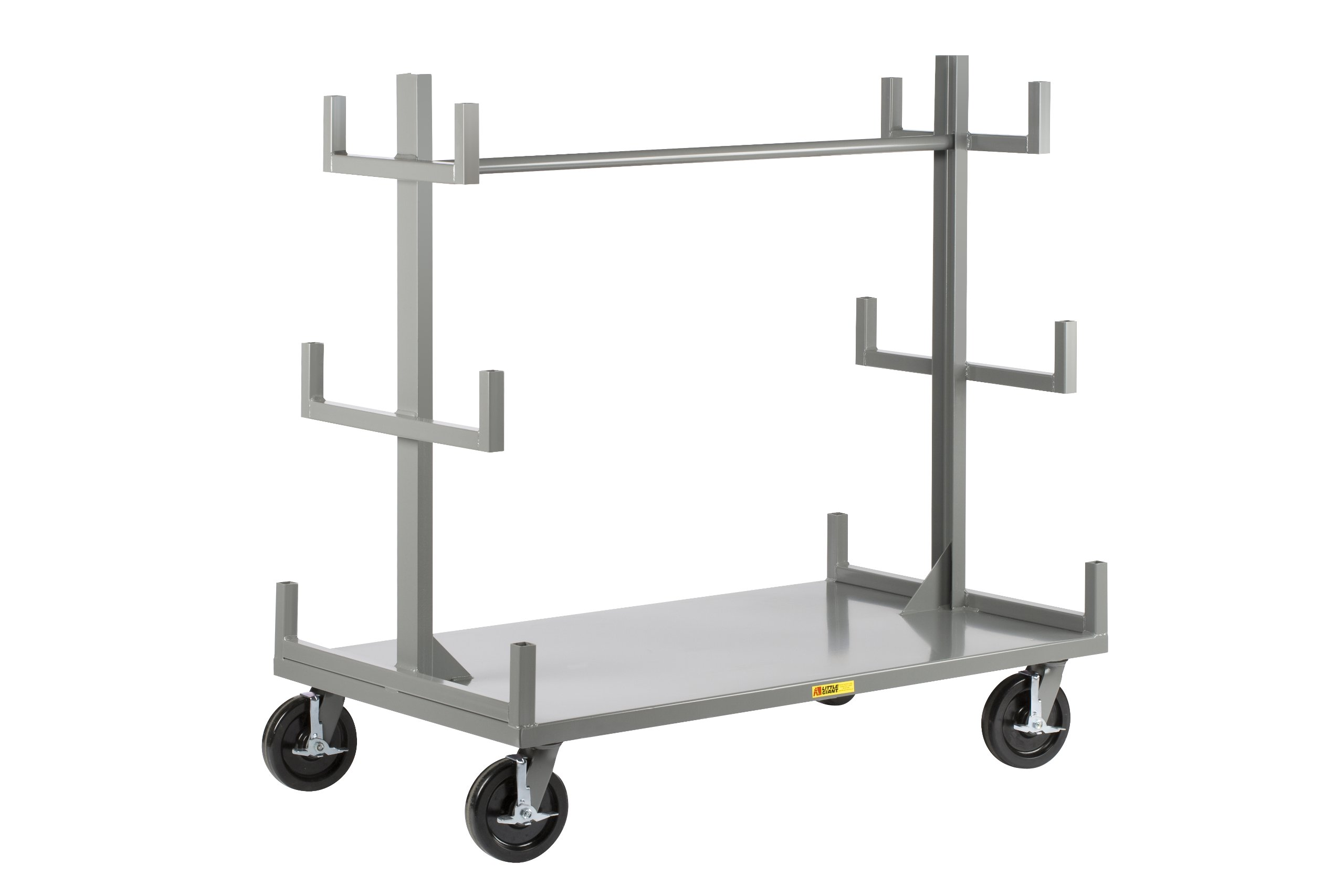 Little Giant BRT-3672-8PHBK Steel Portable Bar and Pipe Truck with 4 Swivel Casters and Wheel Brakes, 3600 lbs Load Capacity, 58'' Height x 36'' Width x 72'' Length