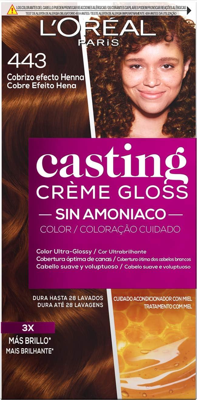 LOreal Paris Casting Crème Gloss Coloración Sin Amoniaco, Tono 443 Cobrizo Efecto Henna - 3 Paquete de 1 unidad