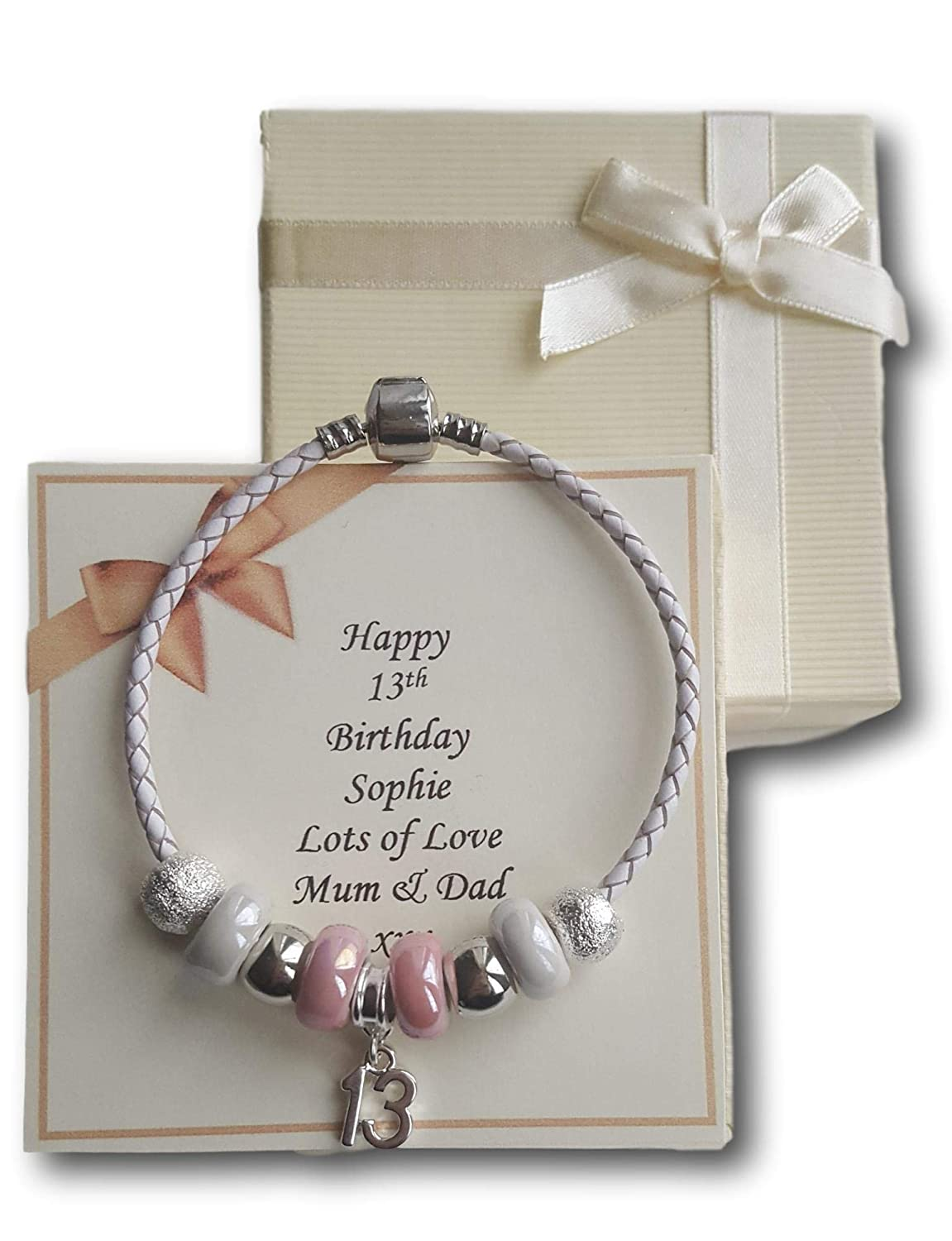 Girls 13th Birthday Leather Bracelet Gift Present with Personalised Card unbranded