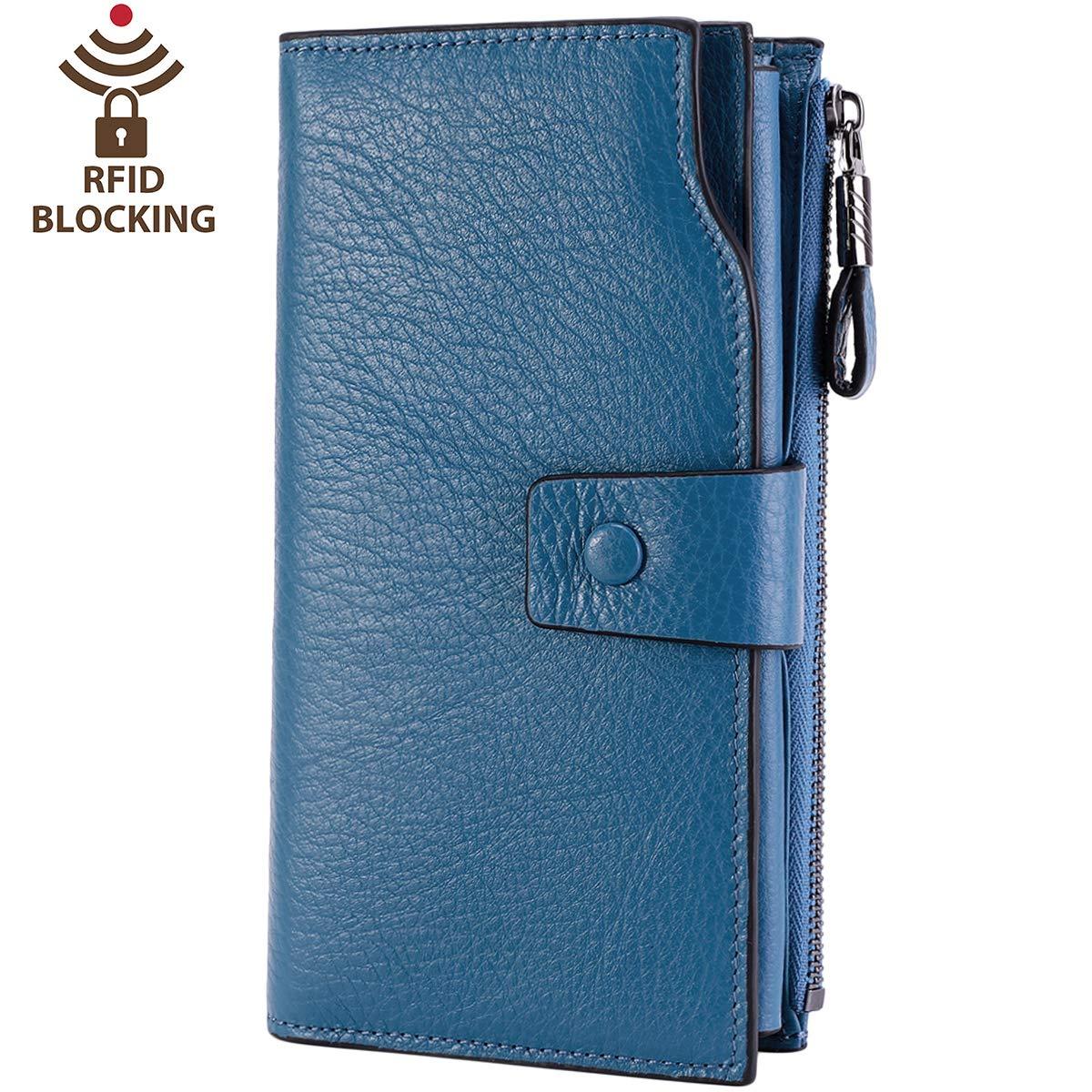 Itslife Women's RFID Blocking Large Capacity Luxury Wax Genuine Leather Clutch Wallet Card Holder Organizer Ladies Purse (2-Natural Sky Blue)
