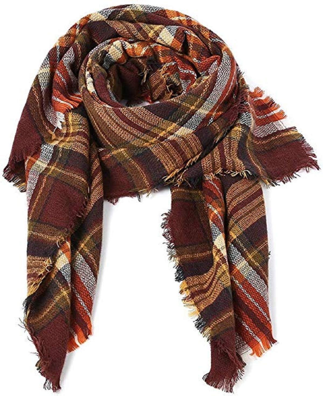 American Trends Women Fashion Winter Scarf Warm Soft Plaid Scarf Cozy Blanket Shawl lattice White