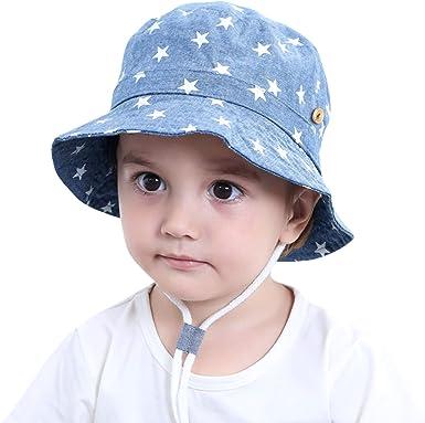 Bebé Niños Sombrero de Sol Algodón Sombrero de Playa Verano Primavera UV Protección Gorro Estrella Motivo, Circunferencia de la Cabeza 46/54cm: Amazon.es: Ropa y accesorios