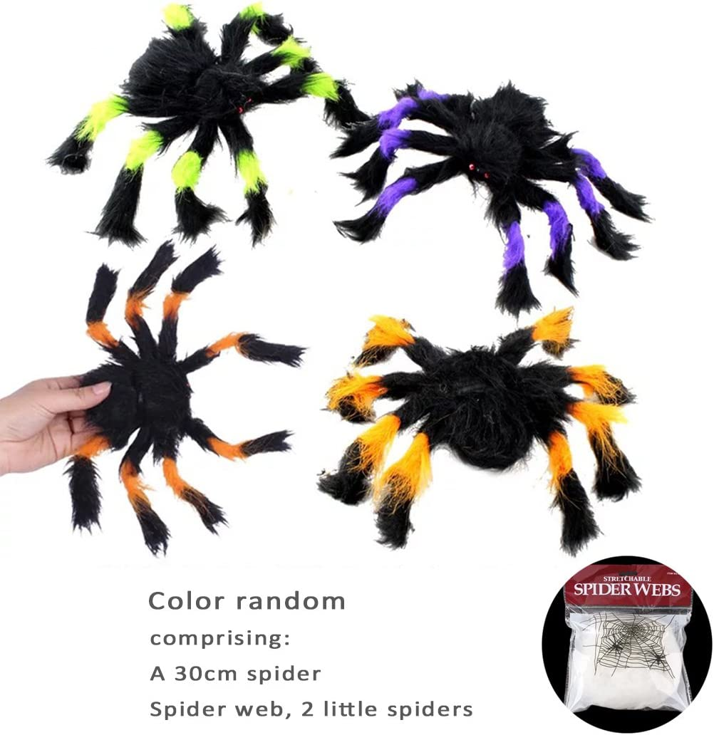 si ying Simulation Fluffy Spider, Haunted House Props, 30cm Spider Toys for Children, Prank, Prop, Gardens, Party Favors, Halloween & Decorations ( Color Random )