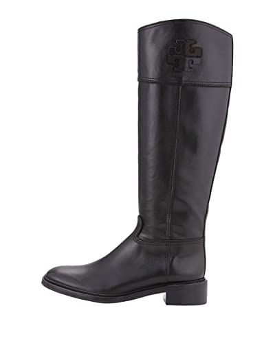 f32b7d7e1795 Tory Burch Lowell 2 Logo Riding Boot Women's Leather Shoes 50869 (6.5) Black