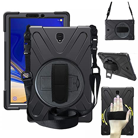 Galaxy Tab S4 10 5 Case Kids, [Kickstand] [Shoulder Strap] [Rotating  Handle], Shock-Absorption Full Body Protection Rugged Cover Case for  Samsung Tab