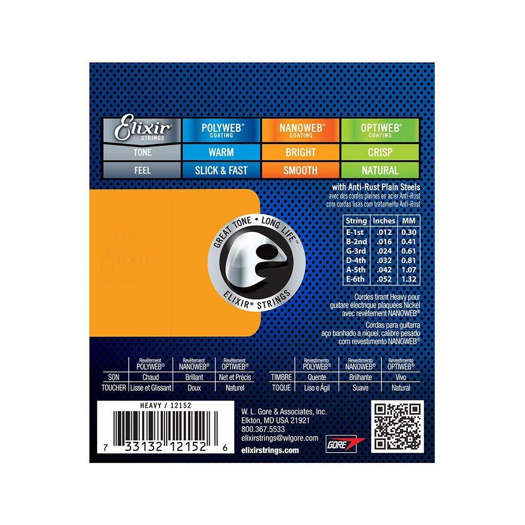 Elixir Electric Nanoweb 12152 Heavy 12-52 cuerdas para guitarra acústica, paquete de 3 con púa Elixir: Amazon.es: Instrumentos musicales