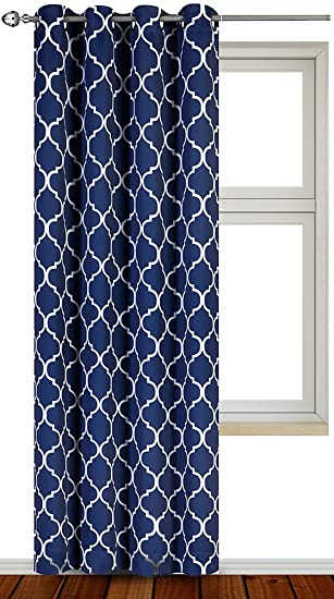 Printed Blackout Room Darkening Color Block Grommet Curtain Panel 52 Inch Wide By 84 Long