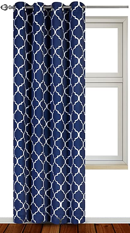 Printed Blackout Room Darkening Color Block Grommet Curtain Panel 52 Inches Wide By 84 Long