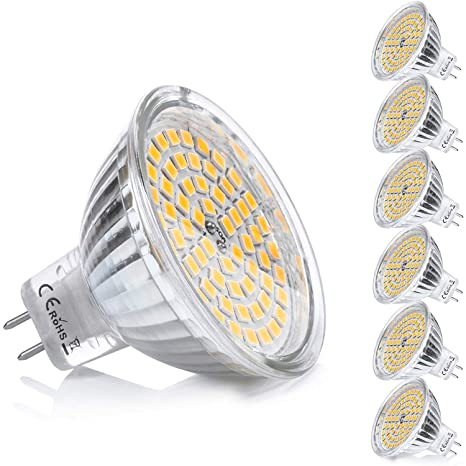 Yafido 6x MR16 GU5.3 LED 12V Bombilla 5W Blanco Calido Equivalente a Halogeno 35W