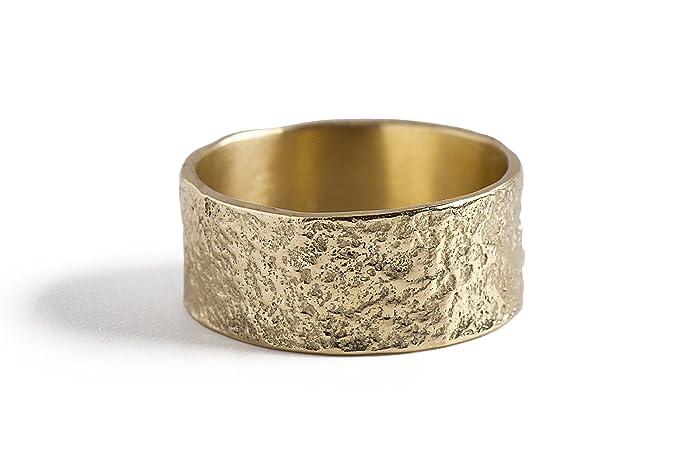 Amazon.com: Women Wedding Band, Wide 14K Gold Wedding Ring, Solid ...