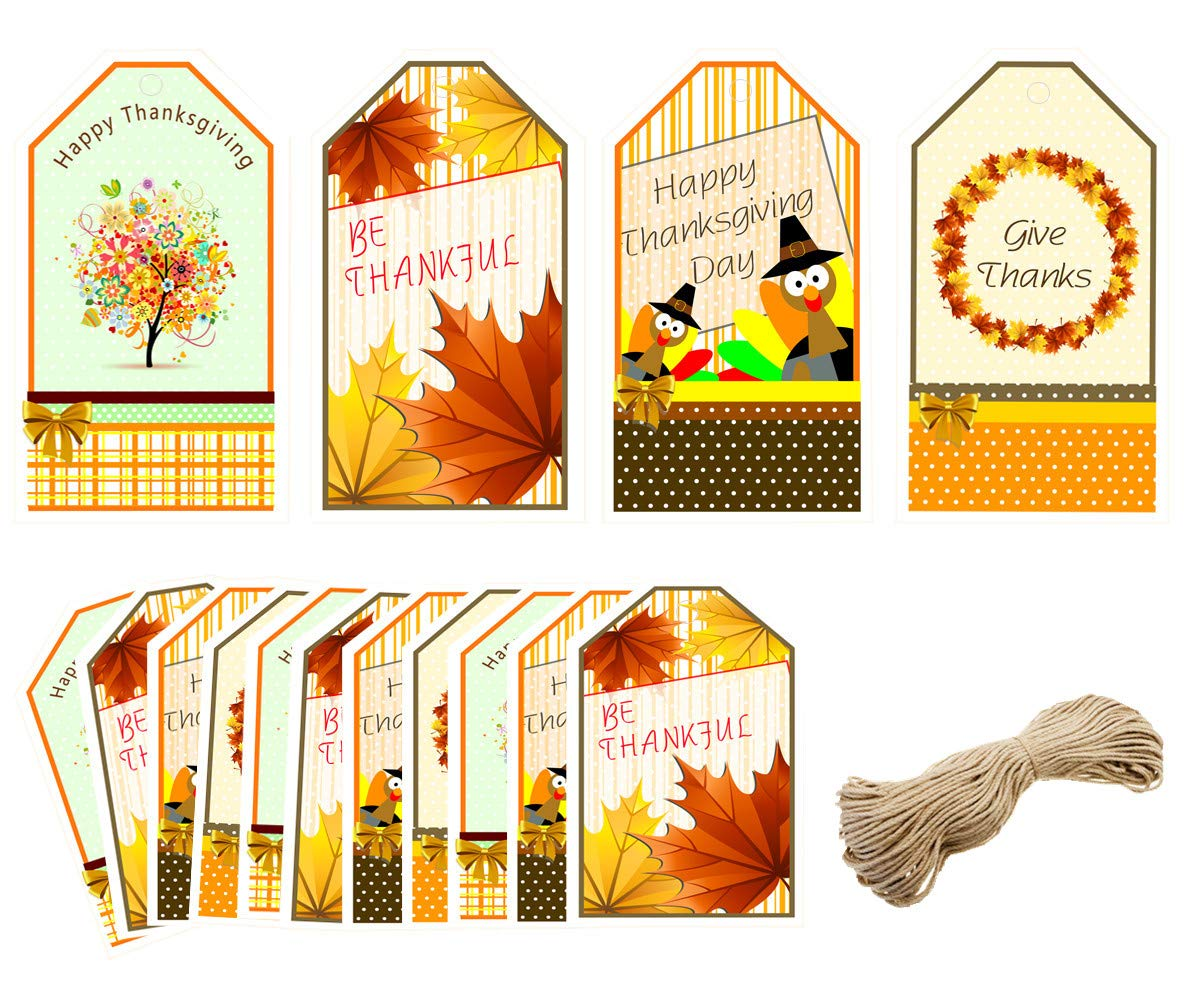 40 Happy Thanksgiving Gift Tags, 16ft Kraft Twines