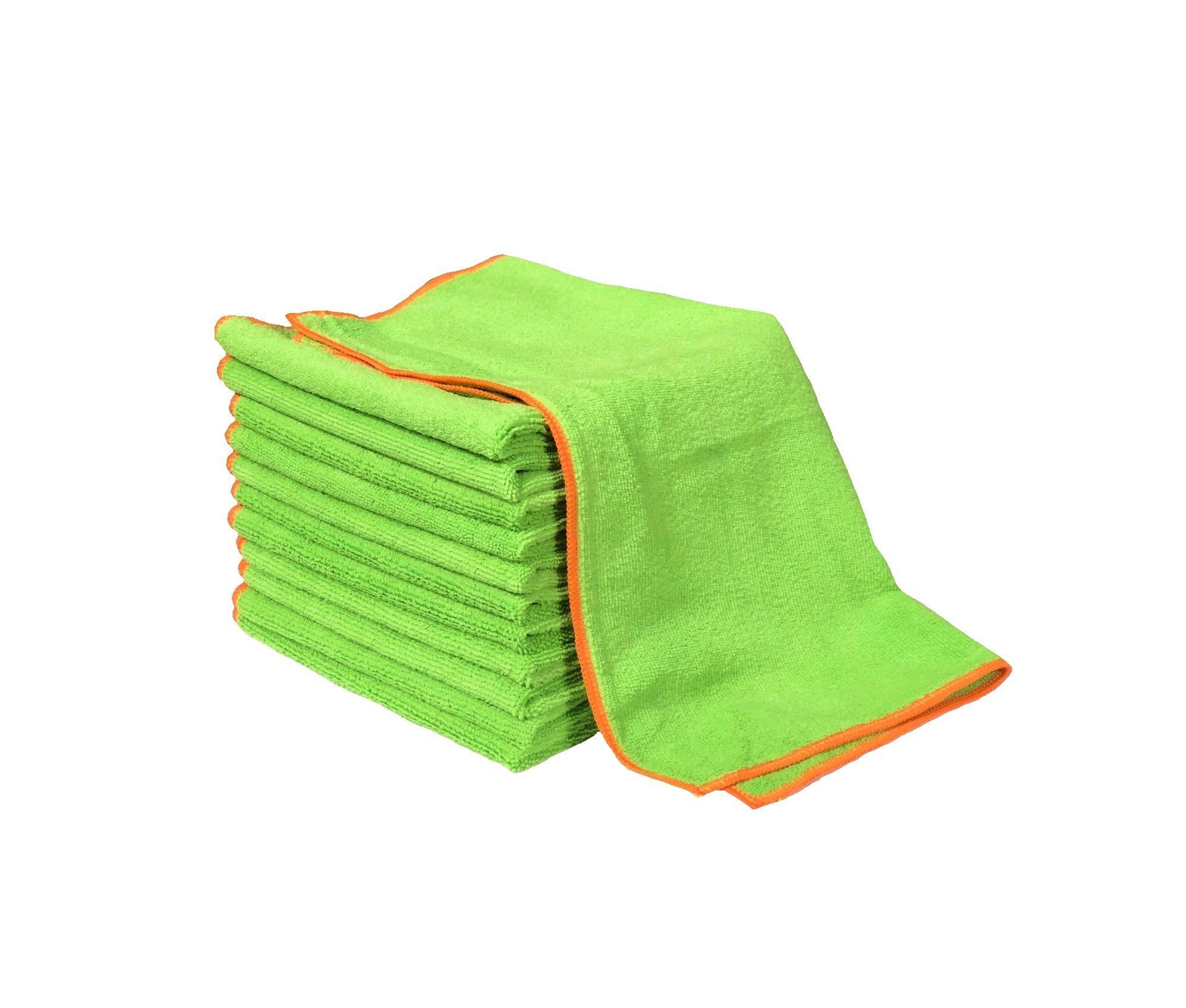 Silver Killer Green Antibacterial Microfiber Cloth 16 x 16 Towel (Pack of 12) by Real Clean
