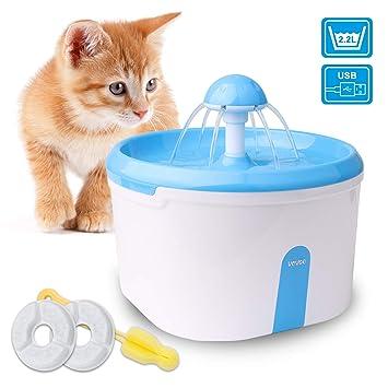 WOWGO Fuente de Agua automática para Gatos, Dispensador de Agua 2.2L con la Bomba