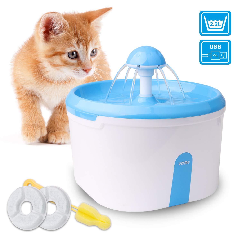 WOWGO Trinkbrunnen 2.2L Automatische Haustier Wasserspender für Katze und Hunde mit Stiller Pumpe, Aktivkohlefilter, Anti-Bissen USB-Kabel und Schwamm-Bürste für Katzen-Hund