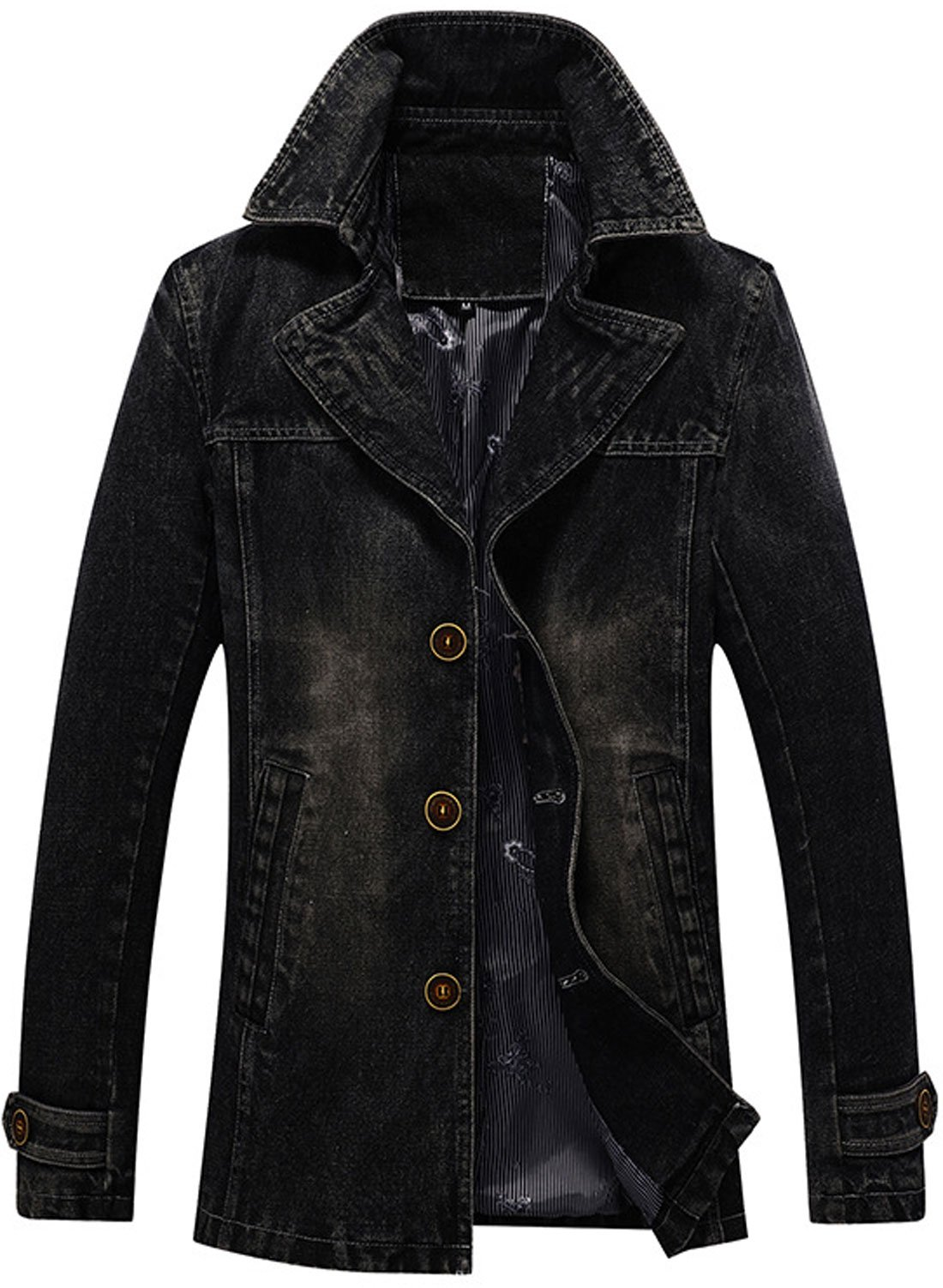 Chouyatou Men's Classic Notched Collar Single Breasted Rugged Wear Lined Denim Trucker Jacket (Black, Large)