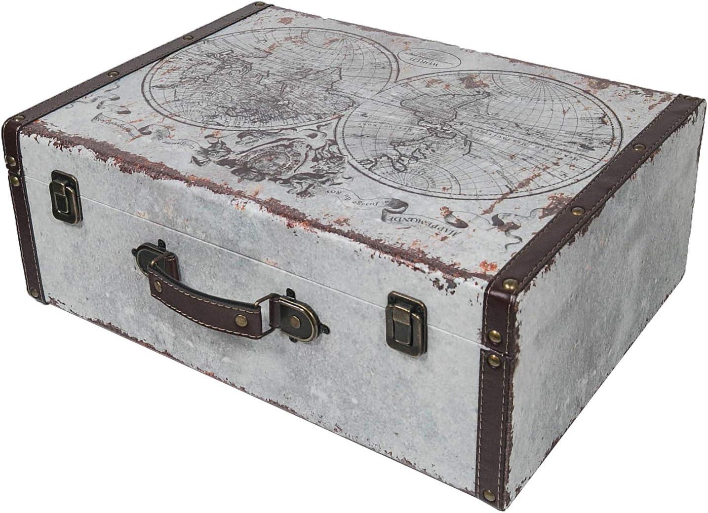 HMF 6430-144 Maleta Vintage de Madera | 44 x 32 x 16 cm | Grande | Decoración Mapa Mundial: Amazon.es: Hogar