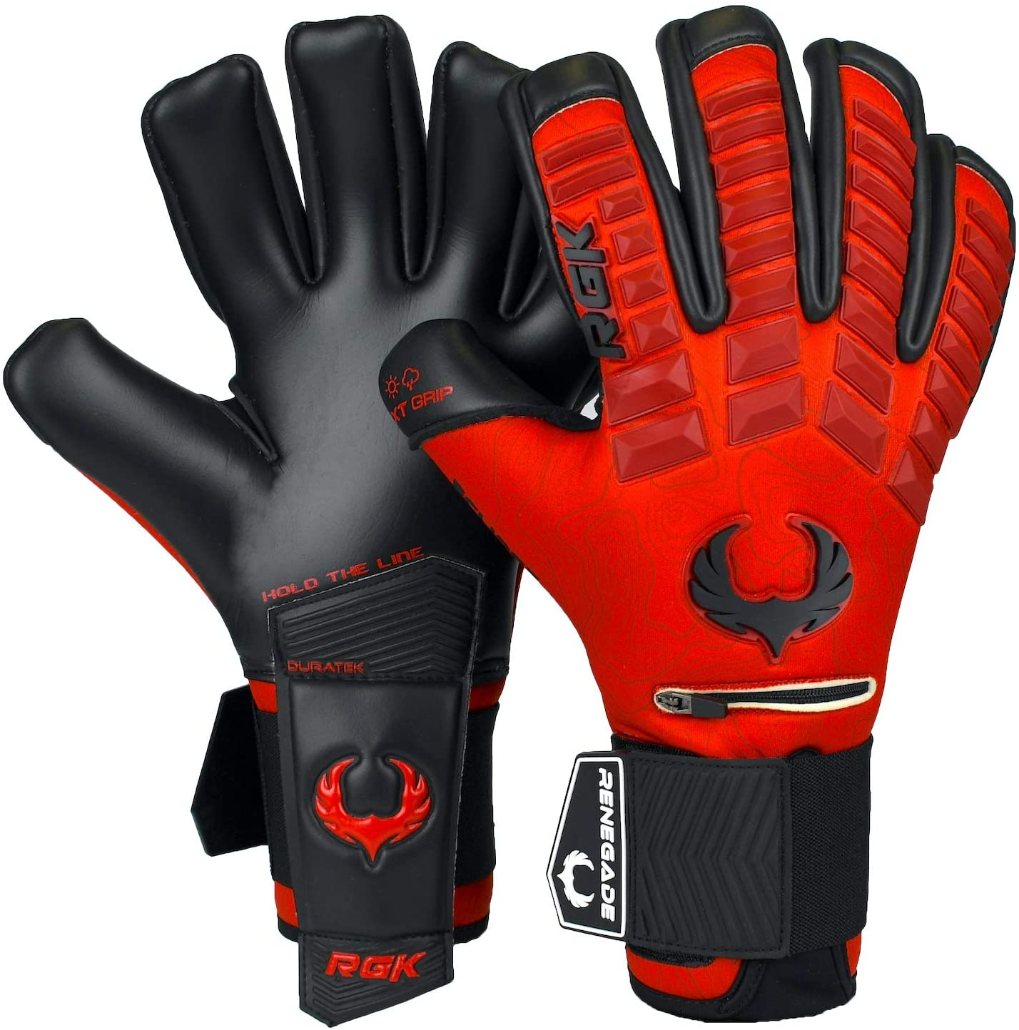 Renegade GK Eclipse Professional Soccer Goalie Gloves with Microbe-Guard (Sizes 7-12, Level 5) Pro-Tek Fingersaves & 4+3MM EXT Contact Grip | Goalkeeper Gloves for Elite Play | Based in The USA : Sports & Outdoors