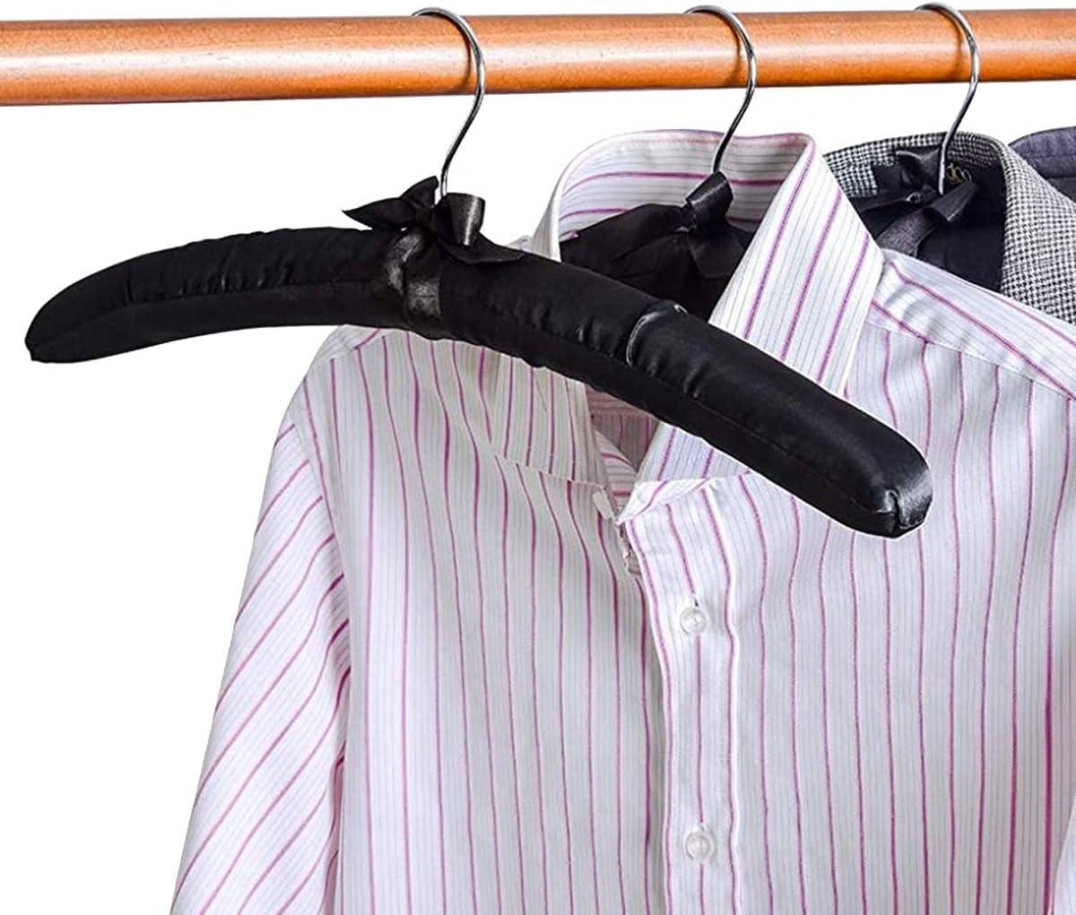 Trajes Perchas de Seda para Vestidos de Novia SNOWINSPRING Perchas Acolchadas de Sat/éN Grandes de 17 Pulgadas Abrigos Blusas Negro, Paquete de 5