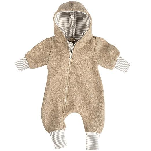 """Lilakind"""" Baby Jungen Mädchen Overall Einteiler mit Kapuze Walkloden Wolle Unisex Blau Caramel Fuchsia Gestreift Gr. 56/62-11"""