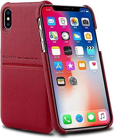 AICase® iPhone XS/X Custodia in Pelle PU, Morbido Tessuto Pelle PU Premium con Portadocumenti e Carte di Credito Semplice Professionale Executive ...