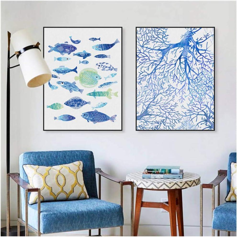 Paisaje marino abstracto moderno pez coral arte de la pared pintura lienzo carteles impresiones imágenes de la sala 60x80cm (23.6