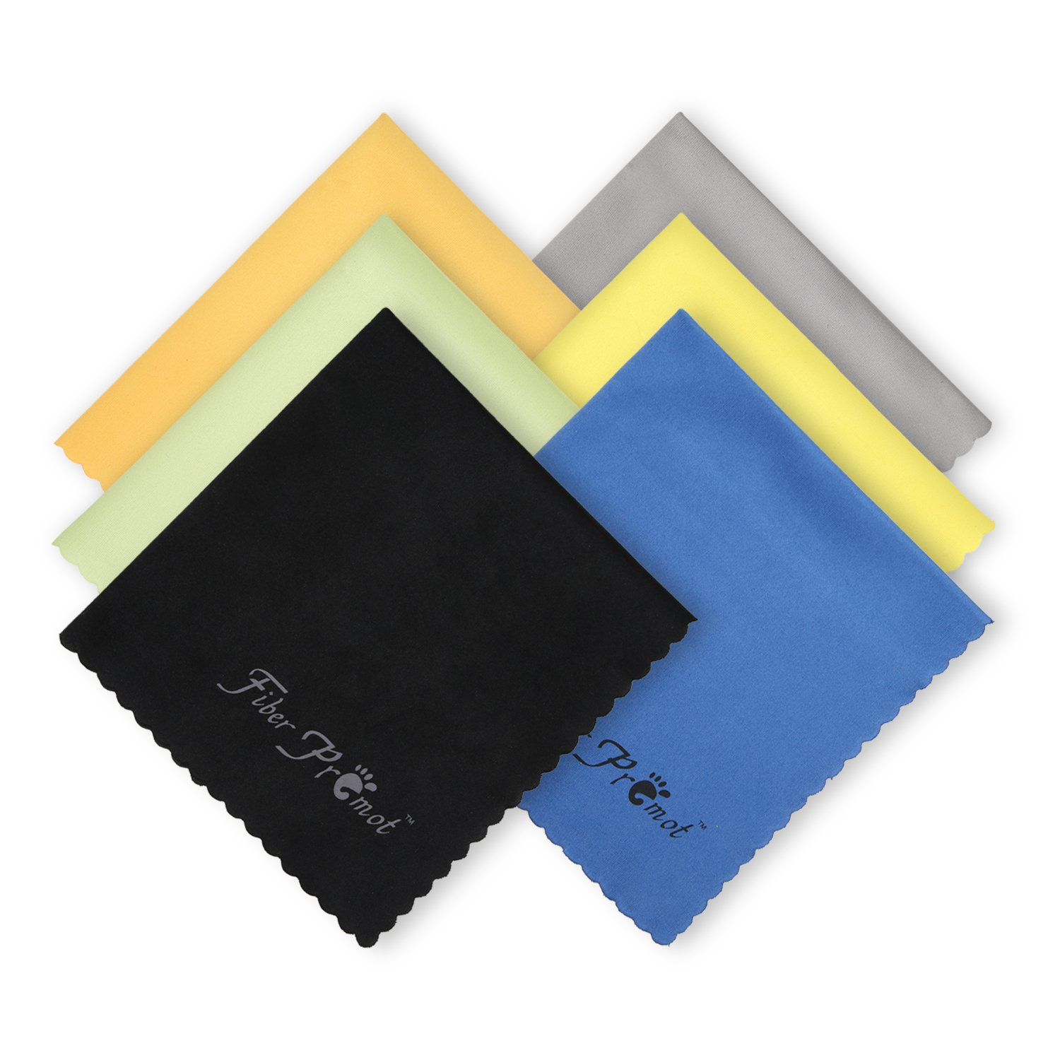 FIBER PROMOT 6 Pack Microfiber Cloths for Electronics,Phone,Screen,Camera,Glasses, Lens,Square,Glasses,Wipes,Optical,Computer,Laptop and TV Set Cleaning (6×7 inches) AQ160802