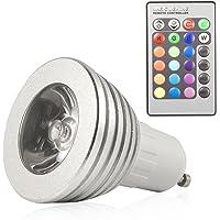 HF 6x 3W GU10, uzaktan kumandalı 16renk renk değişimi LED RGB ışık lamba ampul,
