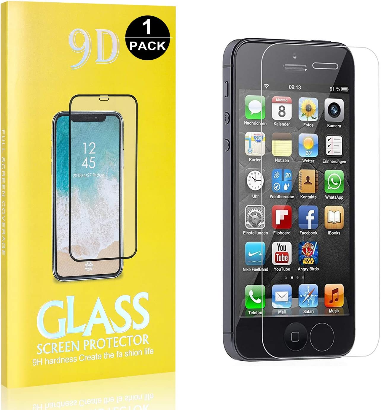3D Touch Support Tempered Glass Screen Protector for Apple iPhone SE//iPhone 5 // iPhone 5s SONWO iPhone SE//iPhone 5 // iPhone 5s Glass Screen Protector 9H Hardness 1-Pack