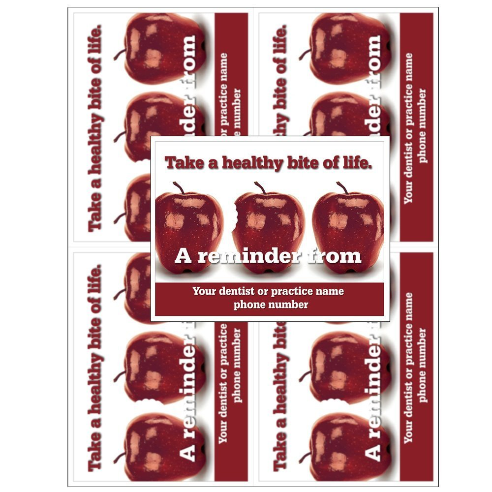 Laser Reminder Postcards, Customizable Dental Appointment Reminder Cards. 4 Cards Perforated for Tear-Off at 4.25'' x 5.5'' on an 8.5'' x 11'' Sheet of 8 Pt Card Stock. (1000 Cards)