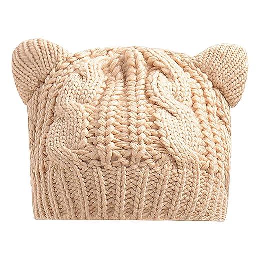 7f38fa35a8e Hangton Charming Lovely Cat Ears Hat Beanie Women Men Warm Solid Color Hip-Hop  Skullies