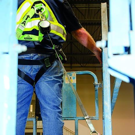Fall Protection Leading Edge Standard Self-Retracting Lifeline 6 ft w//Webbing Peakworks V845523006LE Black//Green SRL