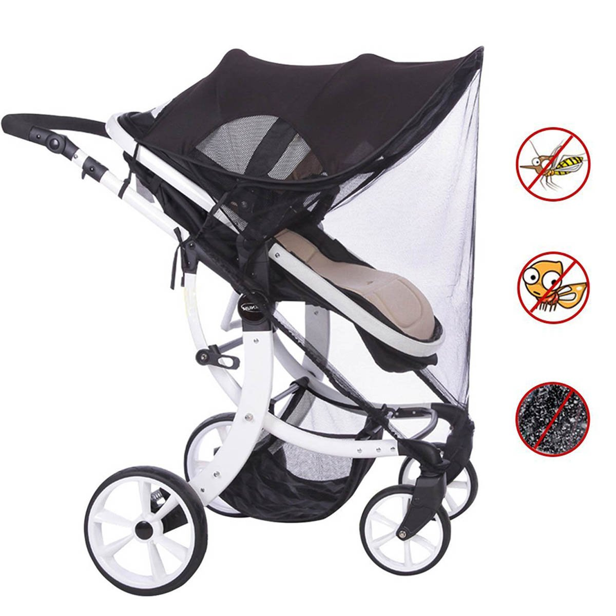 ADESUGATA Baby Stroller Sun Cover, Infant Pushchair Sun Shade, Stroller UV Protection Rays Cover Awning Black