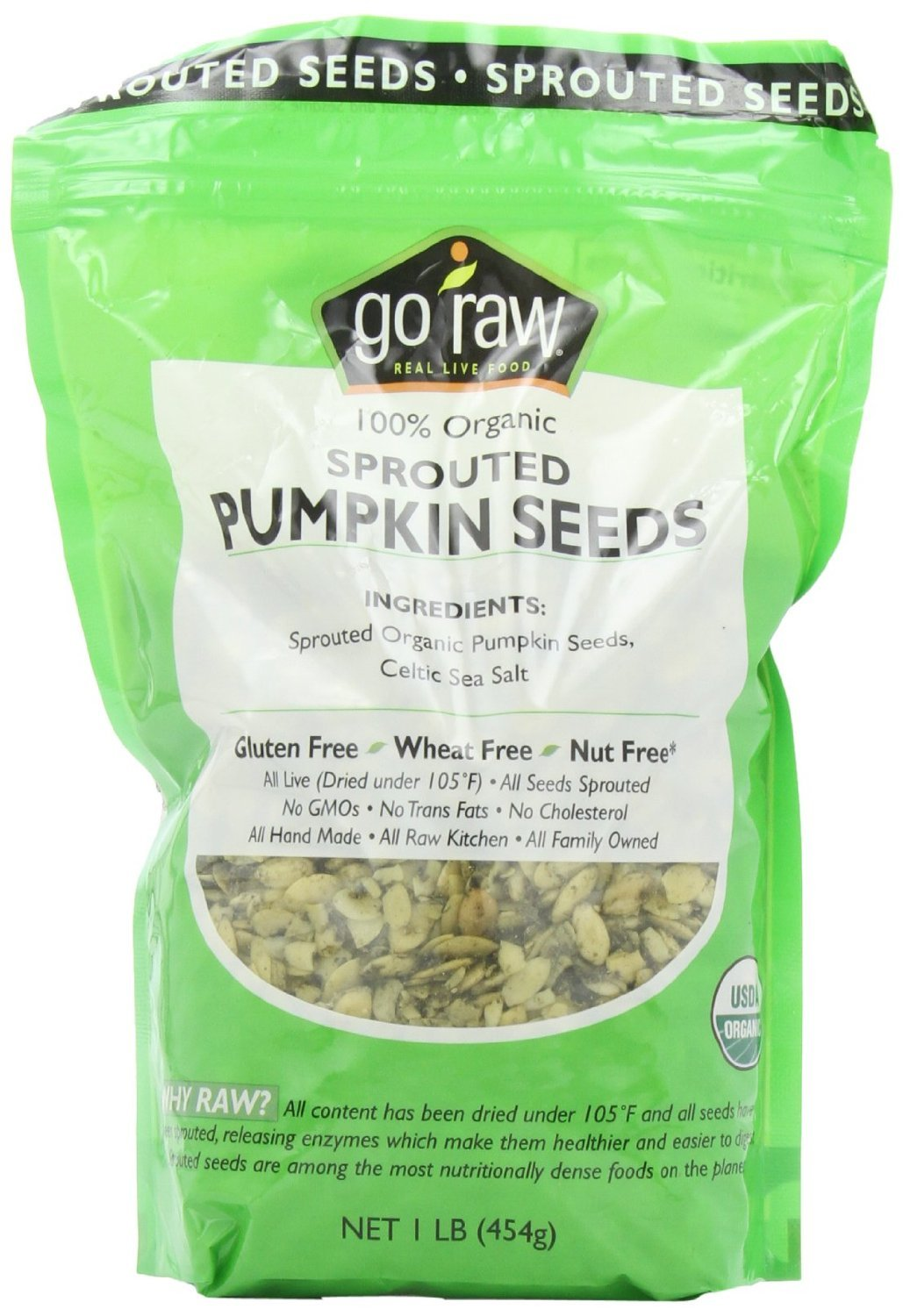 Goraw Organic Sprouted Pumpkin Seed, 16 Ounce - 6 per case.