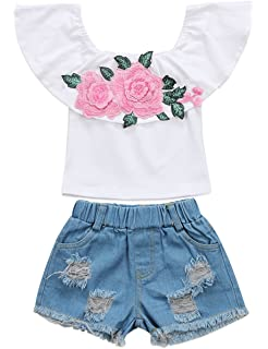 de5c626d99191 Little Girls Off-Shoulder Rose Embrodidery Applique Ruffle Top and Denim  Shorts Outfit