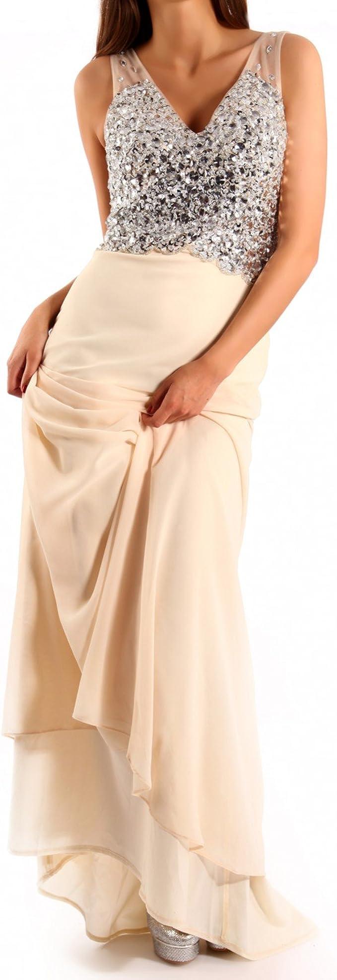 Young-Fashion Damen Abendkleid Chiffonkleid mit Strasssteinen