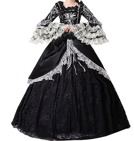 c33be8f90ccc Nuoqi Donna Abito con crinolina Vittoriano Vestito Vintage Medievale  Masquerade Abiti (nero