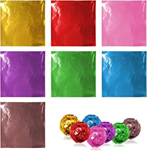Lainrrew 700 Pcs Candy Wrappers, Chocolate Wrappers Sugar Wraps Square Candy Wrapping Paper Aluminum Foil Packaging for Homemade Caramel Candies Decoration, 4 x 4
