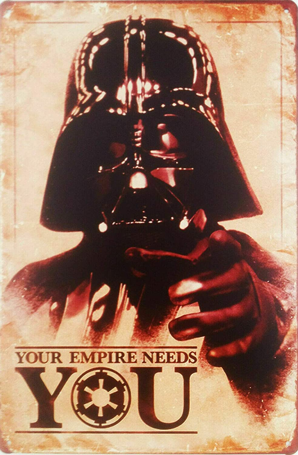 FIKR Your Empire Needs You! Metal Plaque | Star Wars Darth Vader Fun Movie Tin Sign,Vintage Metal Pub Club Cafe bar Home Wall Art Decoration Poster Retro 8x12 inches
