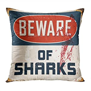 Moladika Sharks Throw Pillow Cover 16x16 Inch Square Beware Vintage Metal Sign Realistic Cushion Home Decor Living Room Sofa Bedroom Office Polyester Pillowcase
