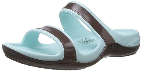 7cef6109f crocs Women s Patra II Espresso Sea Foam Fashion Slippers - W6  Buy ...