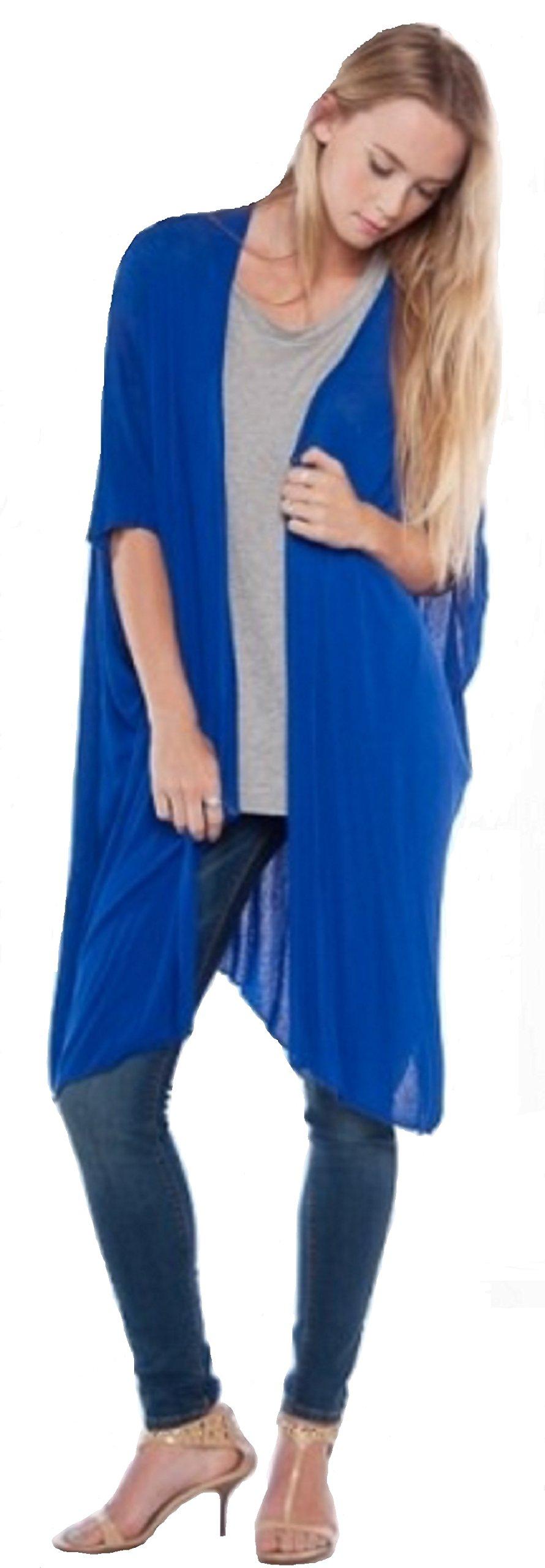 Love My Seamless Womens Ladies Girls Fashion Long Shrug Open Cardigan (Large, Royal)