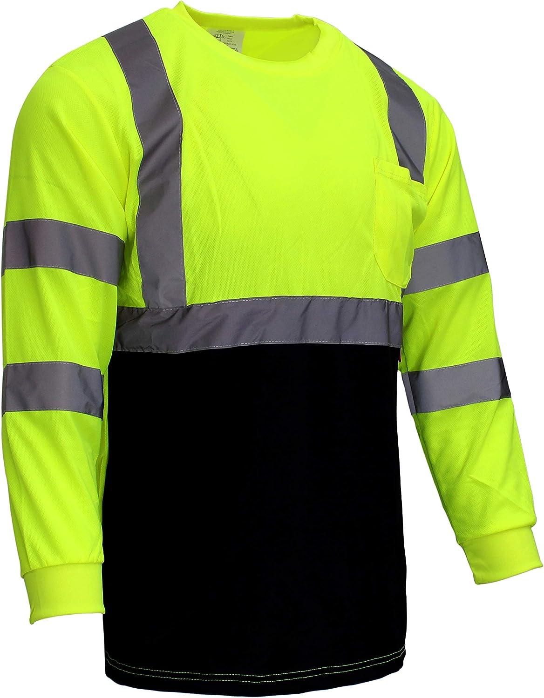 New York Hi-Viz Workwear NY BFL High-Visibility Class 3 T Shirt with Moisture Wicking Mesh Birdseye, Black Bottom