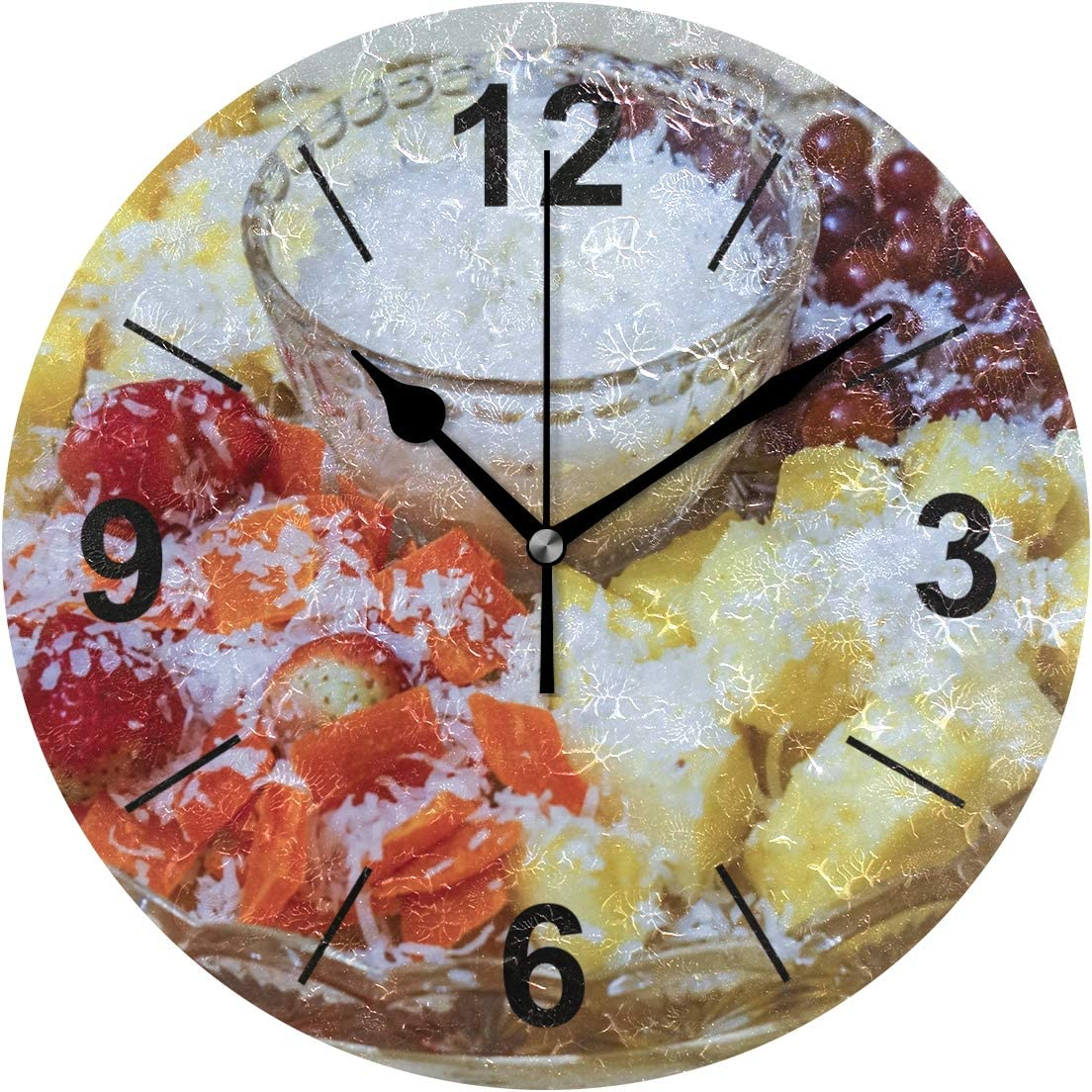 VVIEER Home Decor 10 Inch Round Silent Fruit Sweet Dip Dish Meal Food Non Ticking Vintage Wall Clock Easy to Hang