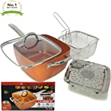 "#1 Award Winning Copper Ceramic Square 10"" Non-Stick Ceramic Pan 4 Piece Set for Frying, Baking, Broiling, Steaming & Braising with Fry Basket Steamer & Tempered Glass Lid - As Seen On Tv"