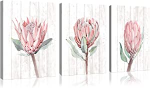 3 Pieces Protea Flowers Vintage Wood Canvas Wall Art for Bathroom Bedroom Modern flowers Print Poster Picture Artworks for Living Room Kitchen Wall Decor Each Canvas Panel is Framed Ready to Hang